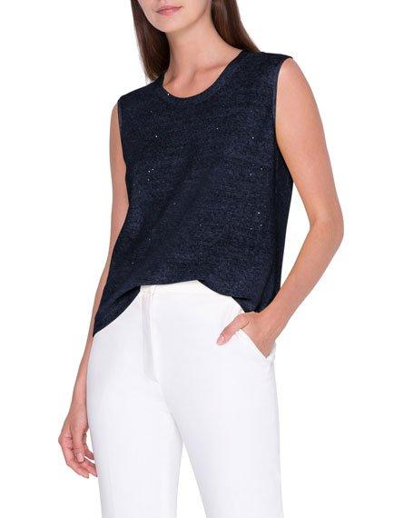 Sequin Linen-Cotton Sweater