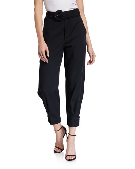High-Rise Belted Ankle Pants