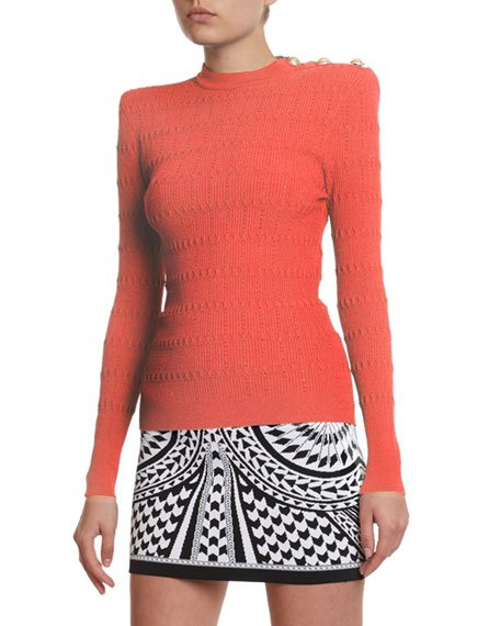 Structured Should Open Knit Sweater