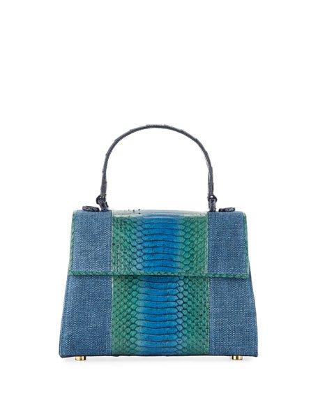 Lexi Small Linen/Snake Top-Handle Bag