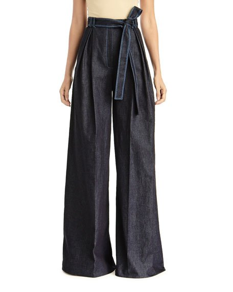 High-Rise Pleated Chambray Pants