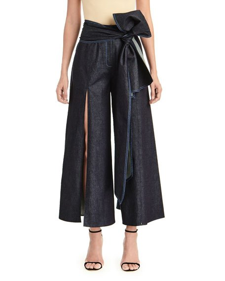 Wide-Leg Denim Pants w/ Front Slits & Sash