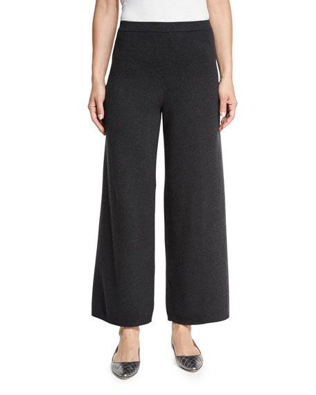 Plus Size Wide-Leg Knit Pants, Charcoal