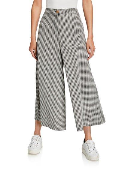 High-Rise Gingham Wide-Leg Trousers