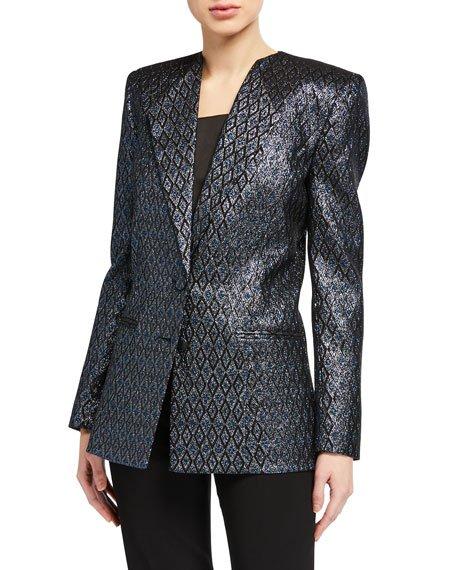 Metallic Jacquard Blazer Jacket