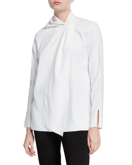 Wrapped Long-Sleeve Blouse
