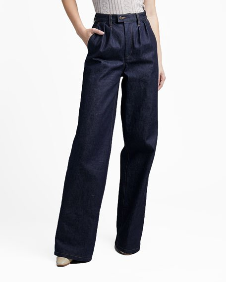 Denim Pleated-Front Wide-Leg Pants