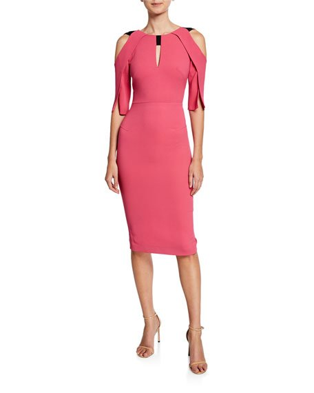 Keeling Keyhole Slit-Sleeve Midi Sheath Dress