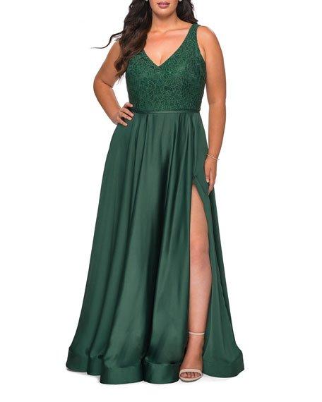 Plus Size V-Neck Satin & Lace A-Line Gown
