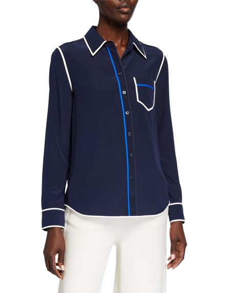 Contrast Binding Long-Sleeve Silk Button Down Shirt