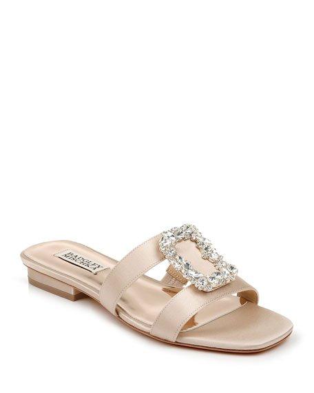 Josette Flat Satin Slide Sandals