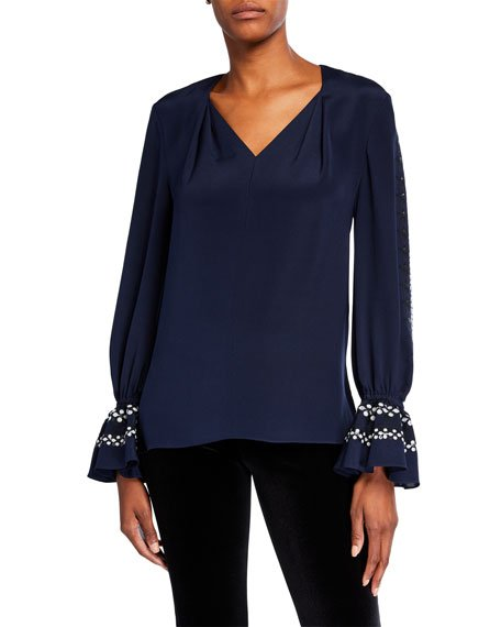 Ghada V-Neck Silk Blouse