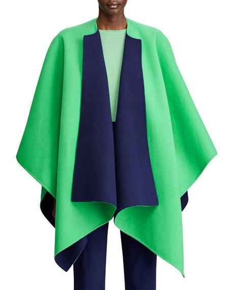 Kellin Two-Tone Wool Poncho