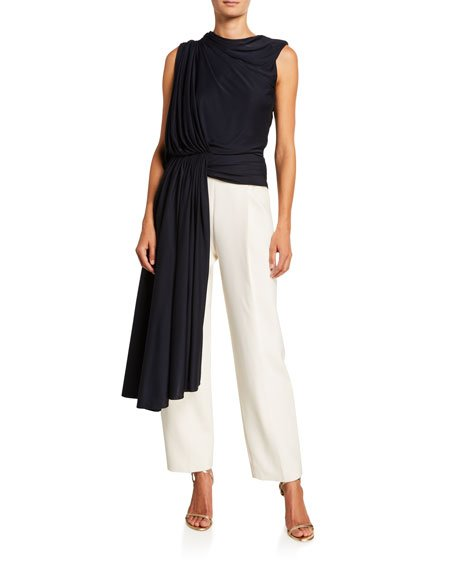 Asymmetric Side Draped Jersey Tank