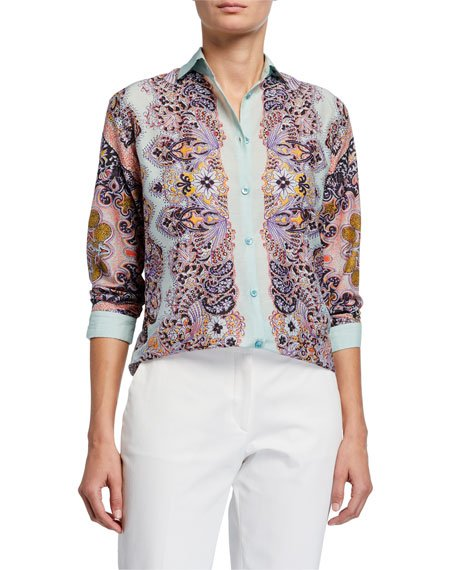 Pastel Paisley Silk-Cotton Shirt