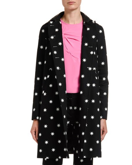 Star-Print A-Line Coat w/ Laser-Cut Collar