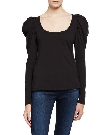 Sewell Puff-Sleeve Scoop-Neck Tee
