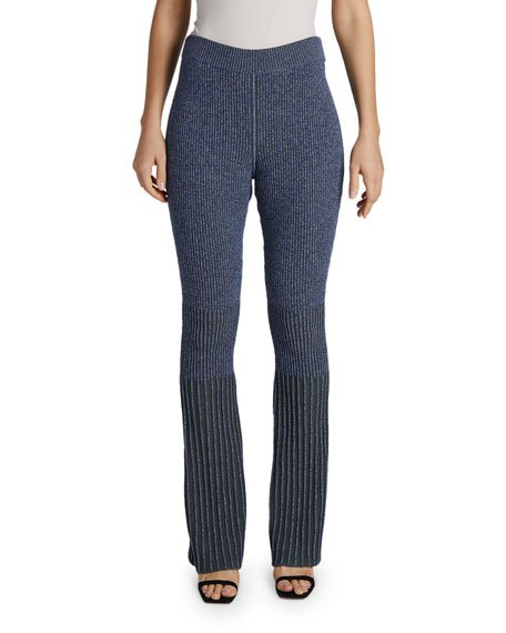 Flare-Leg Ribbed-Knit Pants