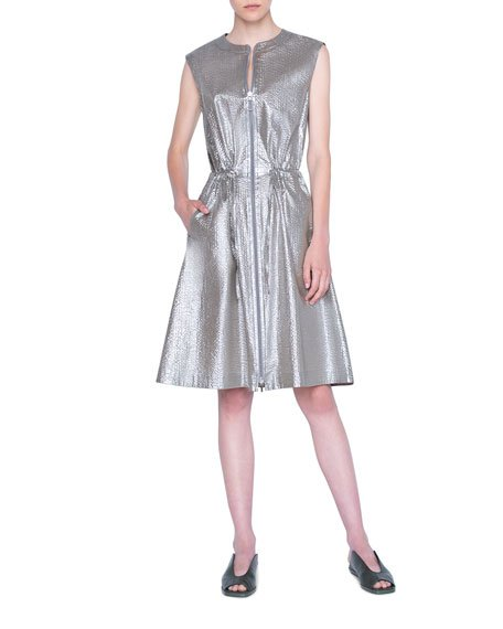 Metallic Poplin Zip-Front Dress