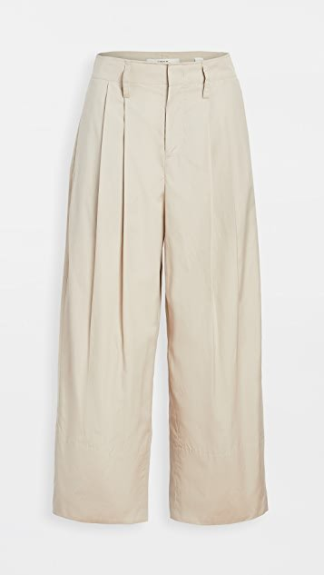 Pleat Front Crop Wide Pants