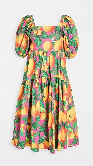 Orange Sunset Midi Dress