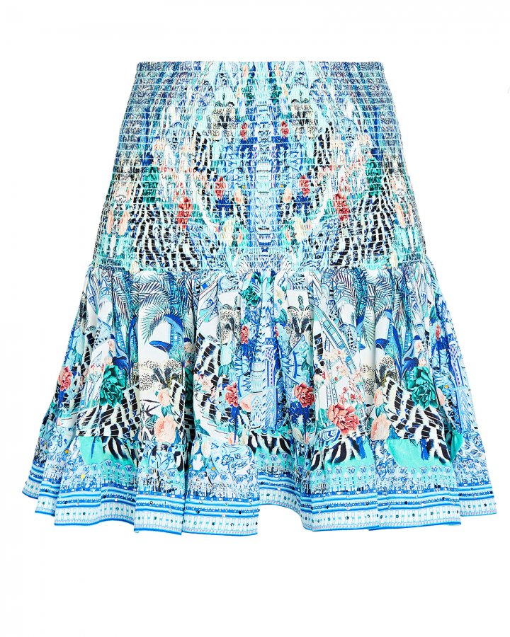 Smocked Floral Print Silk Skirt