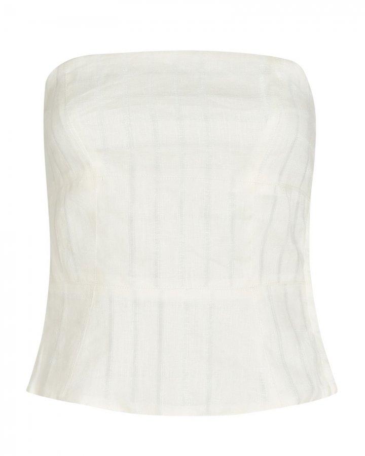 Tiff Strapless Linen Top