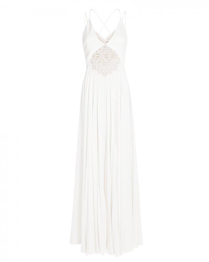 Kolbi Lace-Trim Pleated Maxi Dress