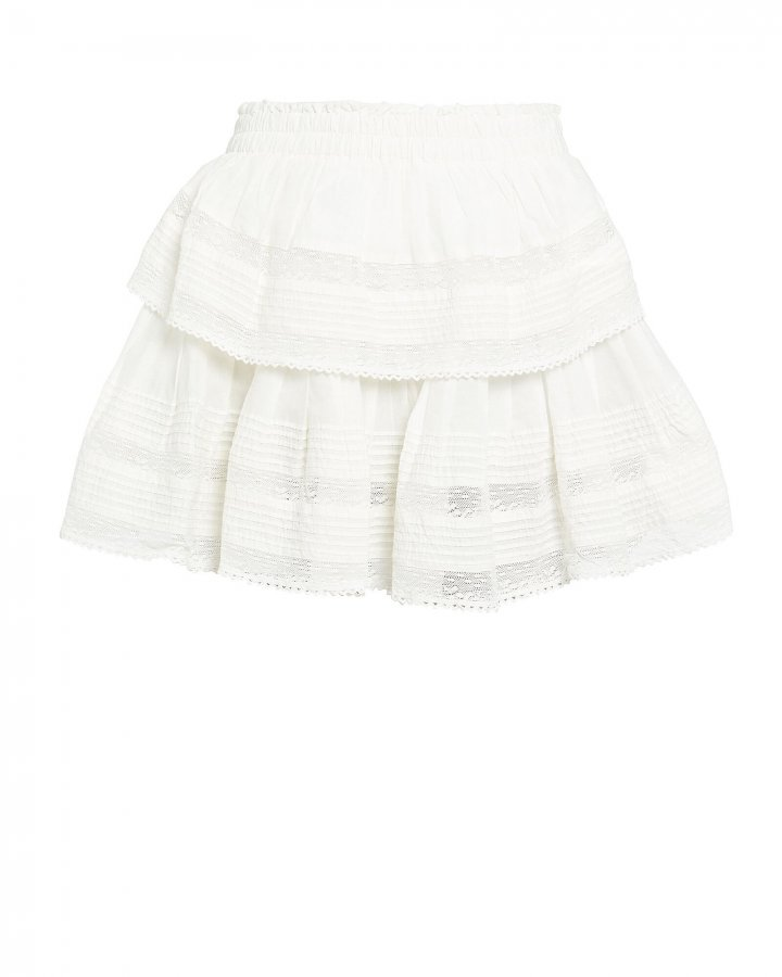 Ruffled Lace-Trim Cotton Skirt