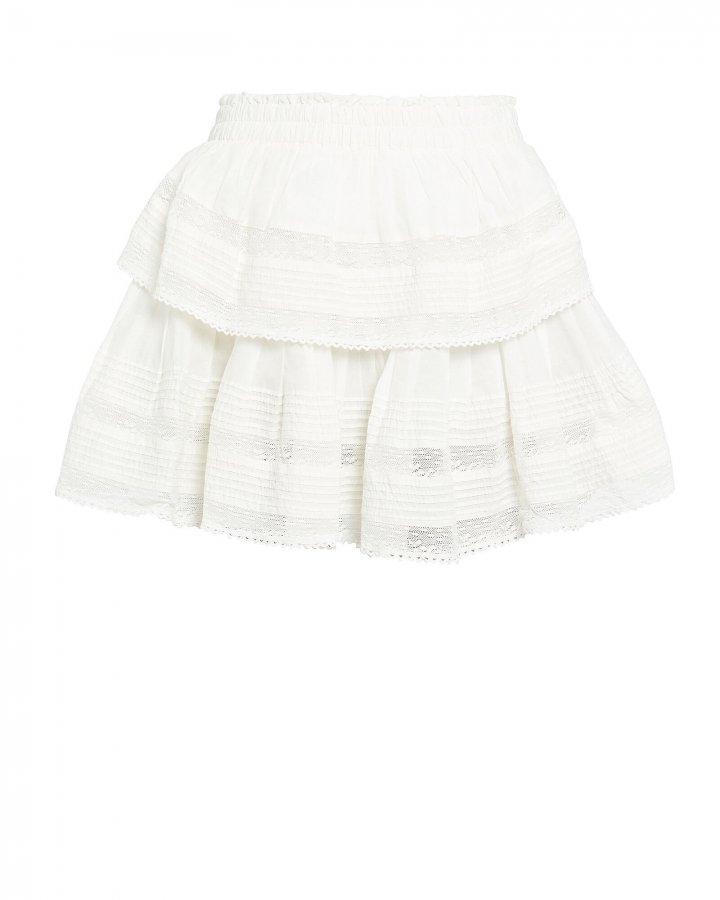 Ruffled Lace-Trim Cotton Skirt