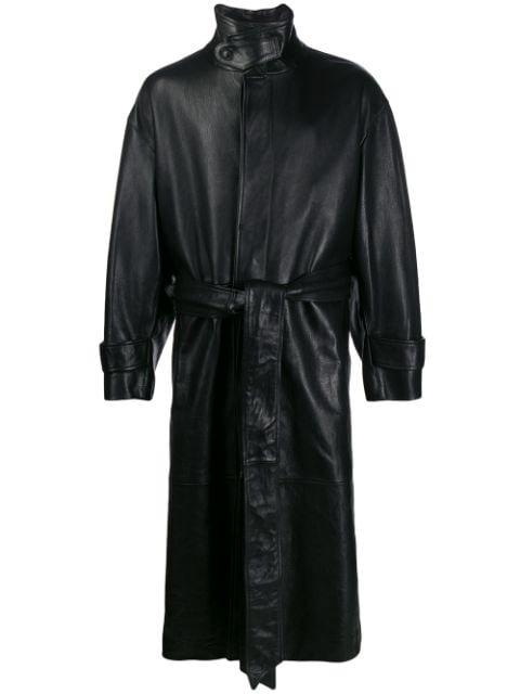 AMI Oversized Leather Trench Coat