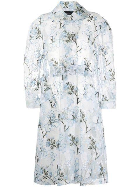 Simone Rocha floral-embroidered Organza Coat