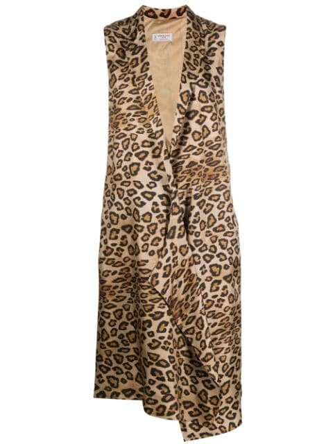 Alberto Biani Leopard Print Sleeveless Coat
