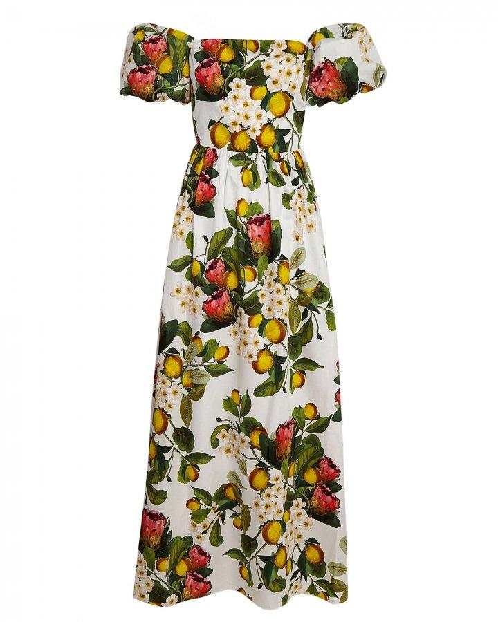 Juliet Lemon Blossom Poplin Maxi Dress