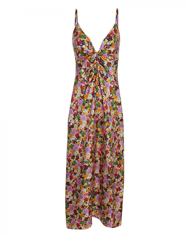 Flora Silk Twill Midi Dress