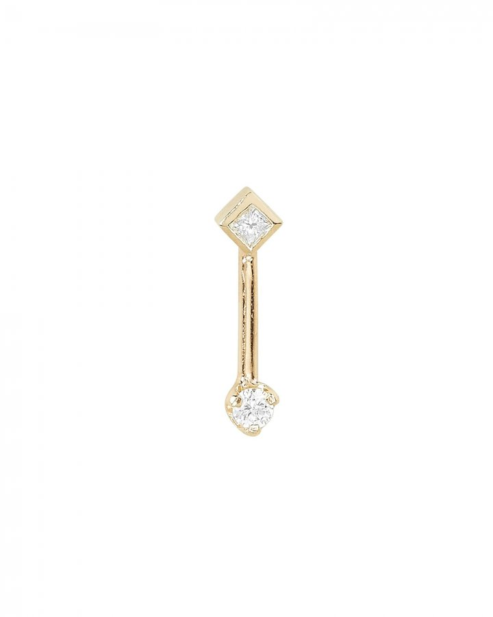 Barbell Diamond Single Stud Earring