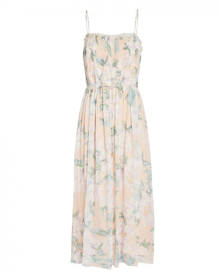 Jade Floral Silk Midi Dress