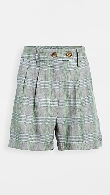 Carolyn Pleated Linen Plaid Shorts