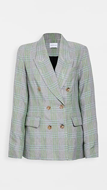 Milano Linen Plaid Double-Breasted Blazer
