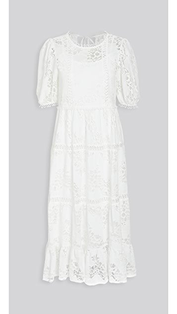White Puff Sleeve Midi Dress