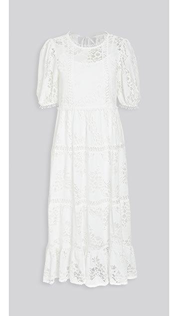 White Puff Sleeve Midi Dress