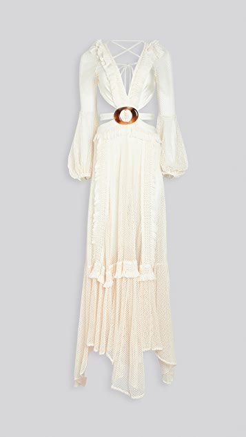 Long Sleeve Fringe Beach Dress