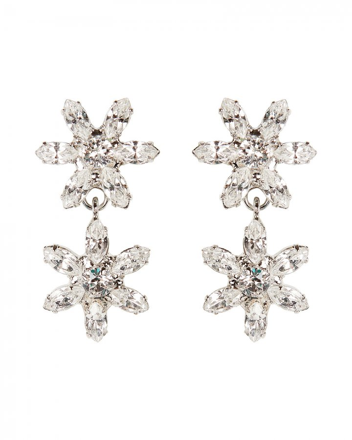 Carrie Crystal Flower Drop Earrings