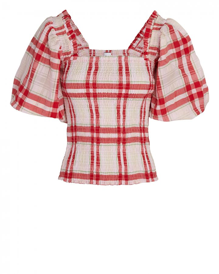 Seersucker Check Smock Top