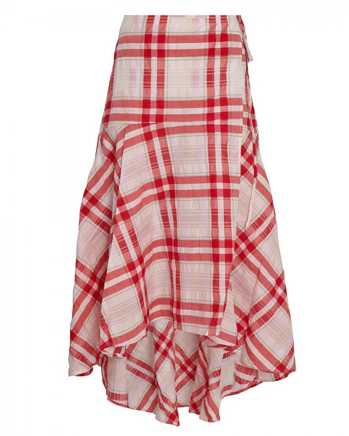 Seersucker Check Wrap Skirt