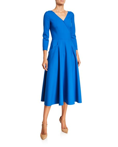 3/4-Sleeve V-Neck Midi Dress