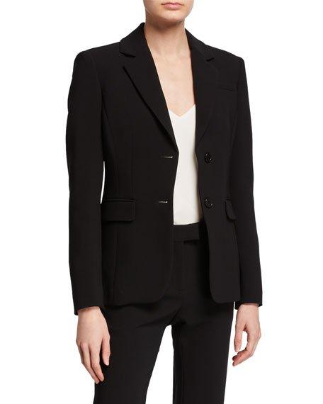 Crepe Button-Front Blazer