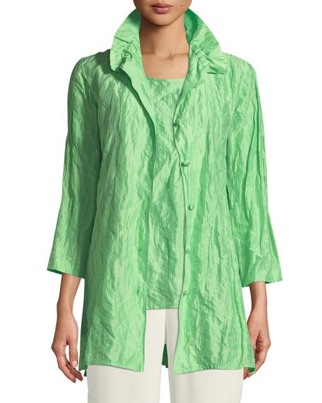 Plus Size Ruched-Collar Crinkled Jacket
