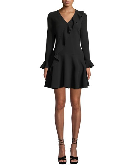 Windham Long-Sleeve Asymmetric-Ruffle Dress
