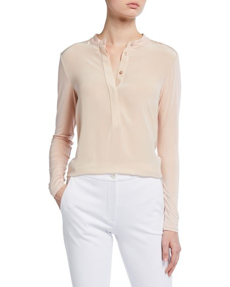 Button-Front Long-Sleeve Top